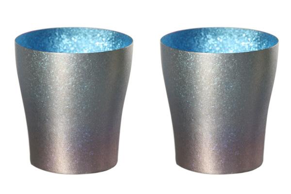 【送料無料】[名入れ・文字入れ・刻印無料キャンペーン中♪]古雅 二重 藍色 青 ブルー ペアセット 250ml 純チタンタンブラー   敬老の日にオススメ純チタンコップ 泡立ちにこだわった純チタンカップを夏のビールのお供に