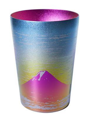 【送料無料】赤富士山 レッド ピンク 400ml 二重 純チタンタンブラー  敬老の日にオススメ純チタンコップ 泡立ちにこだわった純チタンカップを夏のビールのお供に