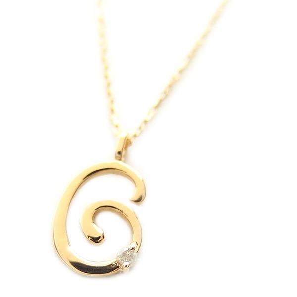 ナンバー ネックレス ダイヤモンド ネックレス 一粒 0.01ct K18 ゴールド 数字 6 ダイヤネックレス ペンダント