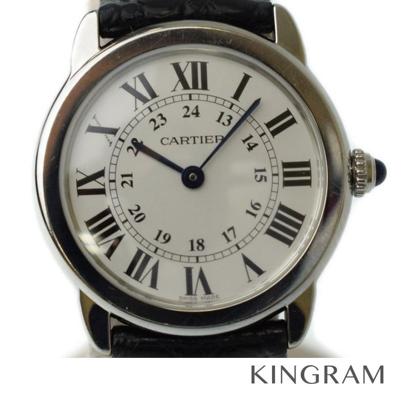 カルティエ Cartier ロンドソロSM 革バンド Dバックル W6700155 ステンレス レディース 腕時計 te 【中古】