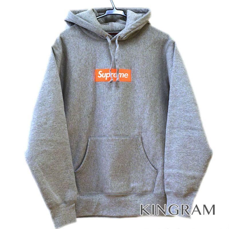 シュプリーム Supreme 17AWモデル Box Logo Hooded Sweatshirt グレー・オレンジロゴ 綿90% ポリエステル10% メンズ パーカー rsn 【中古】