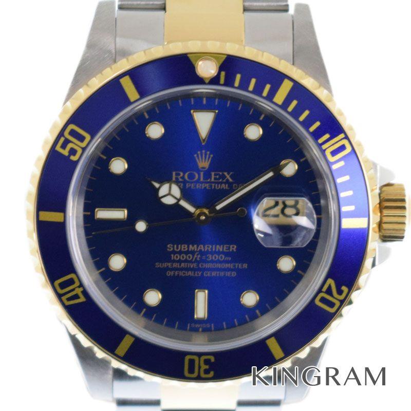 ロレックス ROLEX サブマリーナコンビ 青サブ 外装仕上げ済 A番 Ref.16613 SS/YG メンズ 腕時計 ki【中古】