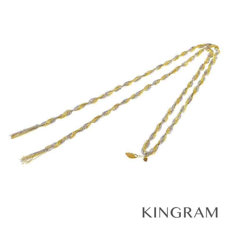 ノーブランド Generic items ネックレス K18(750)  ホワイトゴールド×イエローゴルドー ラリエットネックレス rsa 【中古】