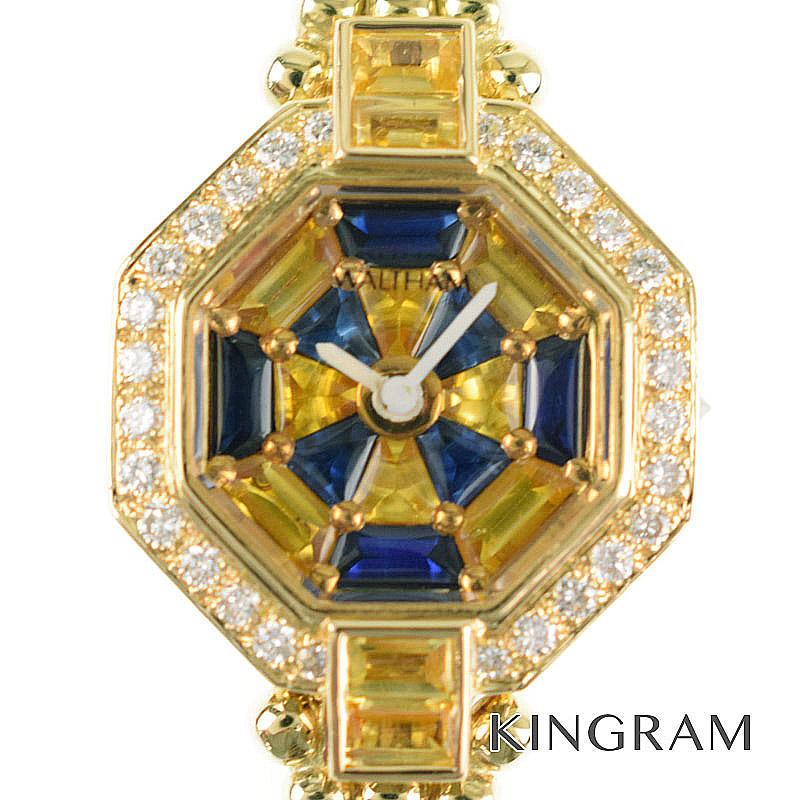 ウォルサム WALTHAM クォーツ k18YG 750 ダイヤベゼル レディース 腕時計 te【中古】