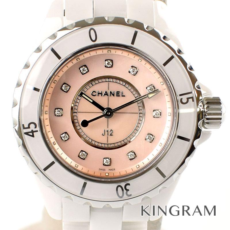 シャネル CHANEL 世界限定1200本J12 Ref.H5513 ピンクシェル 12Pダイヤ 33mm クォーツ レディース 腕時計 fie 【中古】