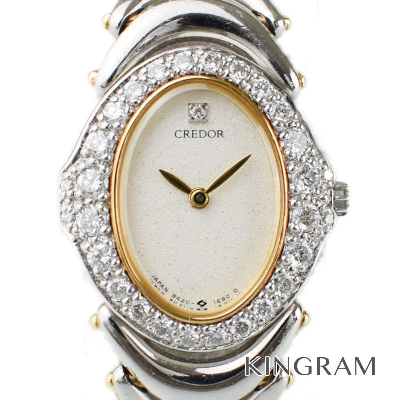 セイコー SEIKO クレドール 8420-7020 Pt900 K18 ダイヤ ベゼル レディース腕時計 te [中古]