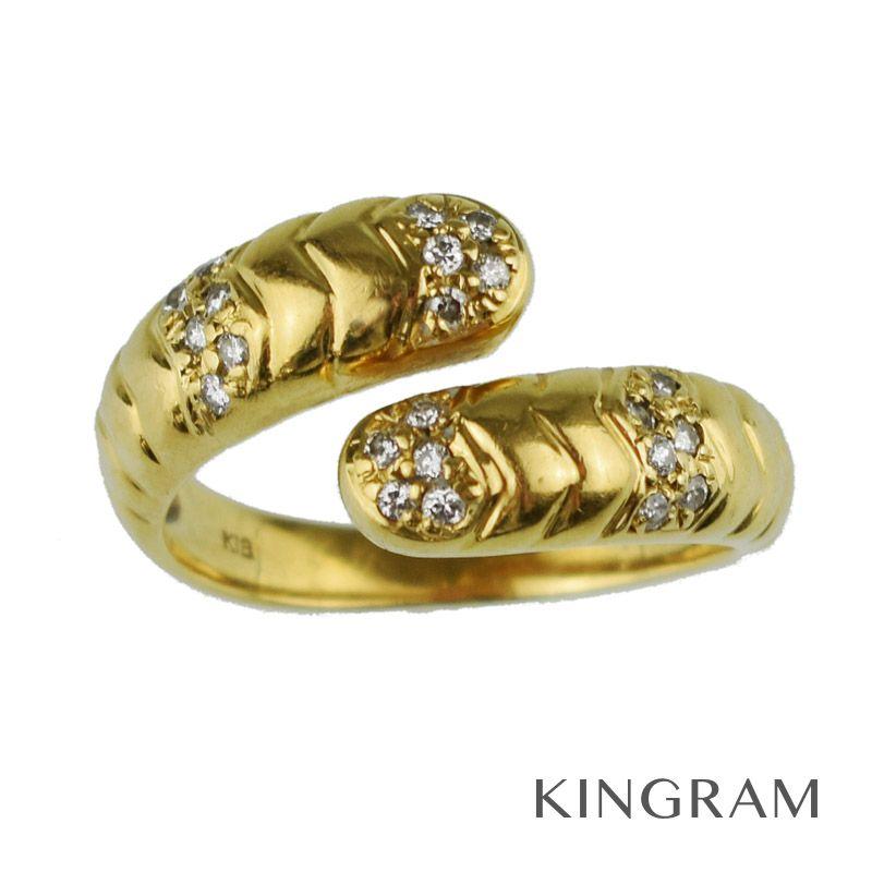 K18 リング K18YG(750) メレダイヤ 0.20ct スネークモチーフ リング #15 新品仕上済 te 【中古】
