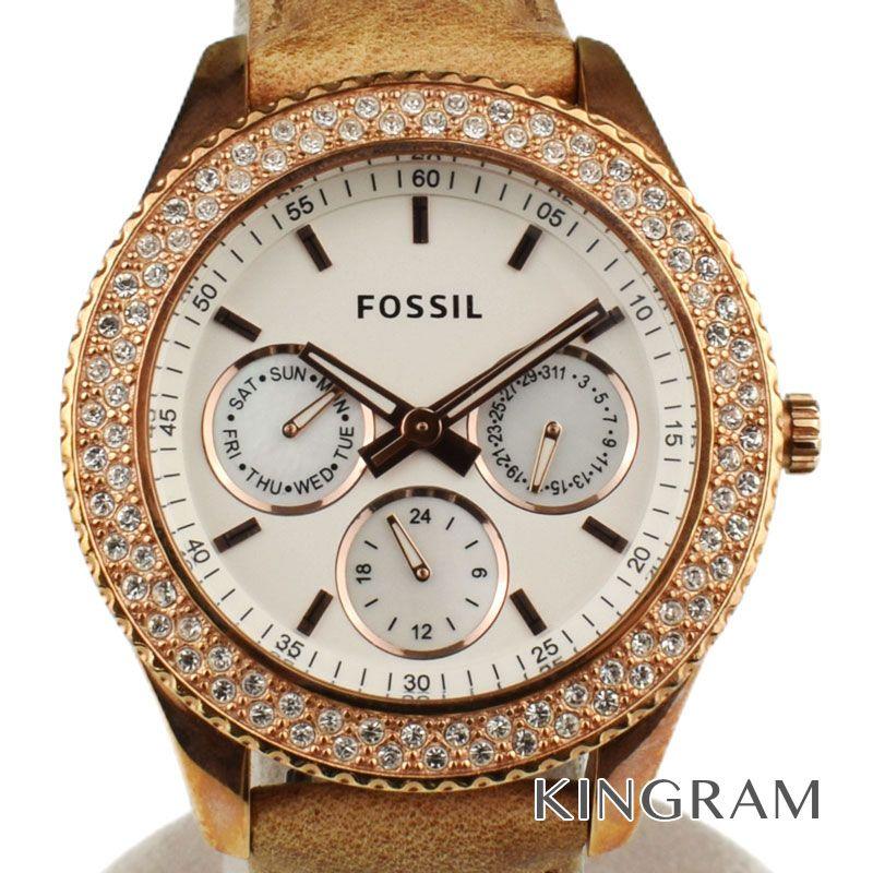 フォッシル FOSSIL Ref.ES3104 レアインストーン クォーツ レディース 腕時計 du 【中古】