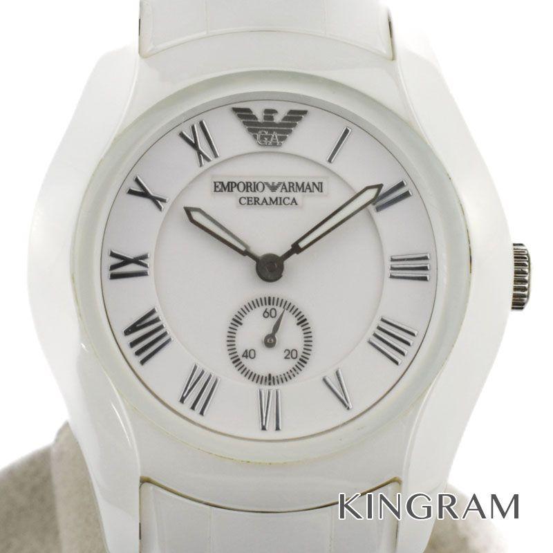 アルマーニ EMPORIO ARMANI Ref.AR-1405 スモールセコンド クォーツ 男女兼用腕時計 du 【中古】
