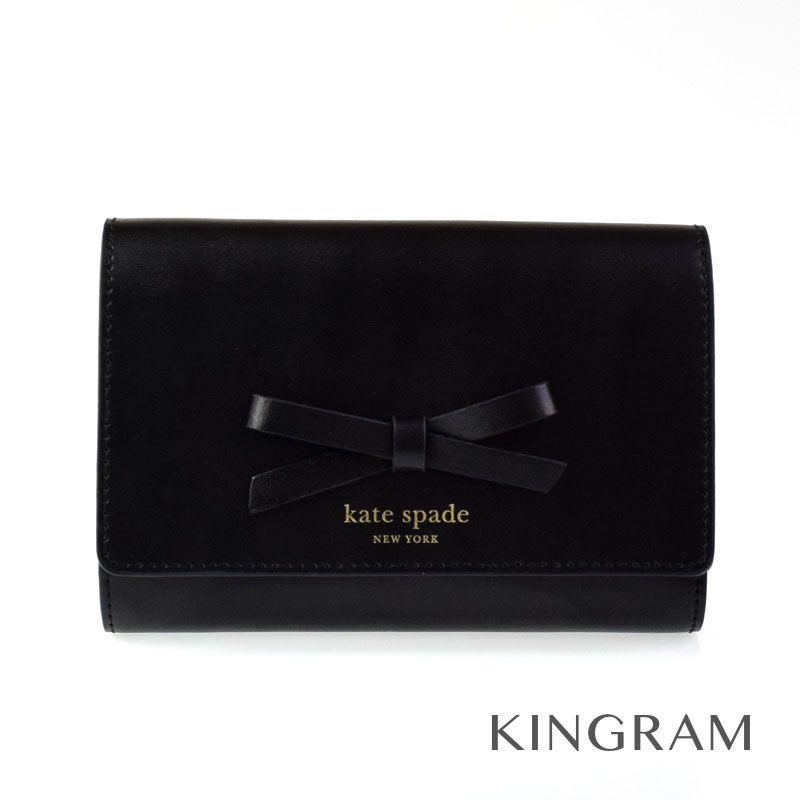 ケイトスペード kate spade 三つ折り財布 WLRU2329 ブラック レザー レディース財布 ec 【中古】