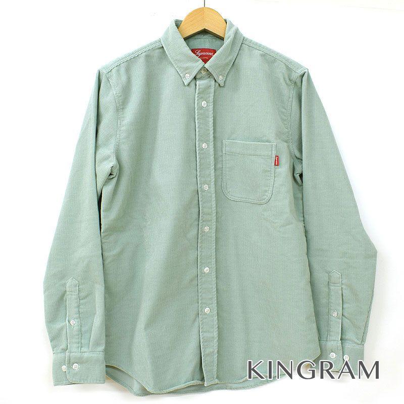 シュプリーム Supreme 長袖シャツ BD サイズS ポケット付 半タグ付 グリーン系 コーデュロイ メンズ シャツ rtk 【中古】