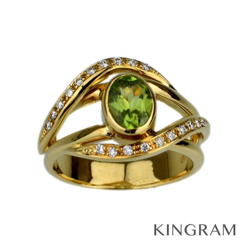 ノーブランド Generic items リング K18YG(750) ペリドット ダイヤモンド #12 クリーニング済 se 【中古】