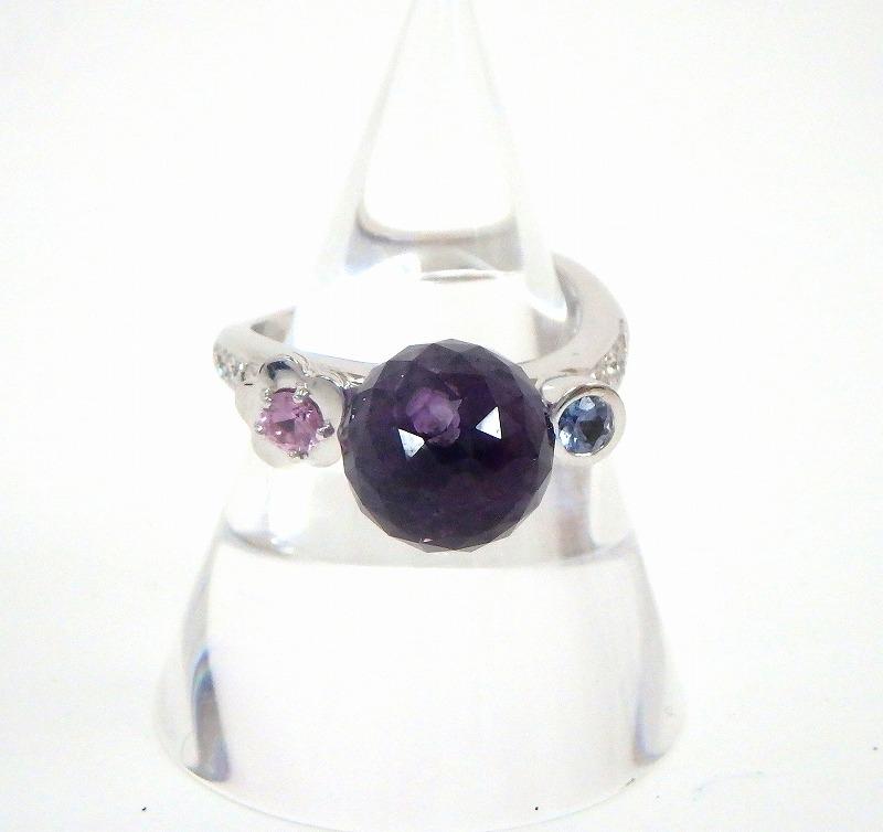 シャネル CHANEL K18WG 750 マドモアゼル リング 7号 アメジスト ダイヤモンド サファイア 指輪 #47 fc【中古】