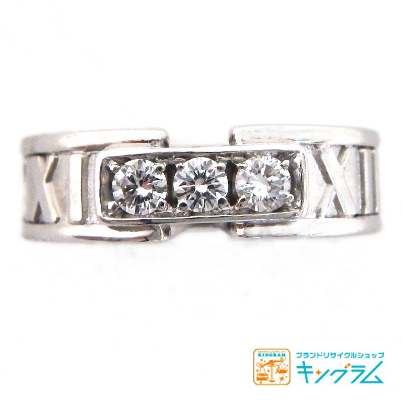 ティファニー TIFFANY&Co. アトラス ニューメリックリング K18WG ダイヤモンド3P #7.5 7.5号 ホワイトゴールド 指輪 fc 【中古】