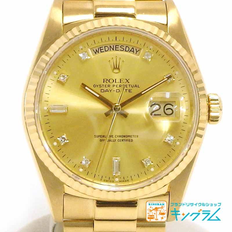 ロレックス ROLEX デイデイト 18038A k18無垢 10Pダイヤ 自動巻き メンズ腕時計 fc 【中古】