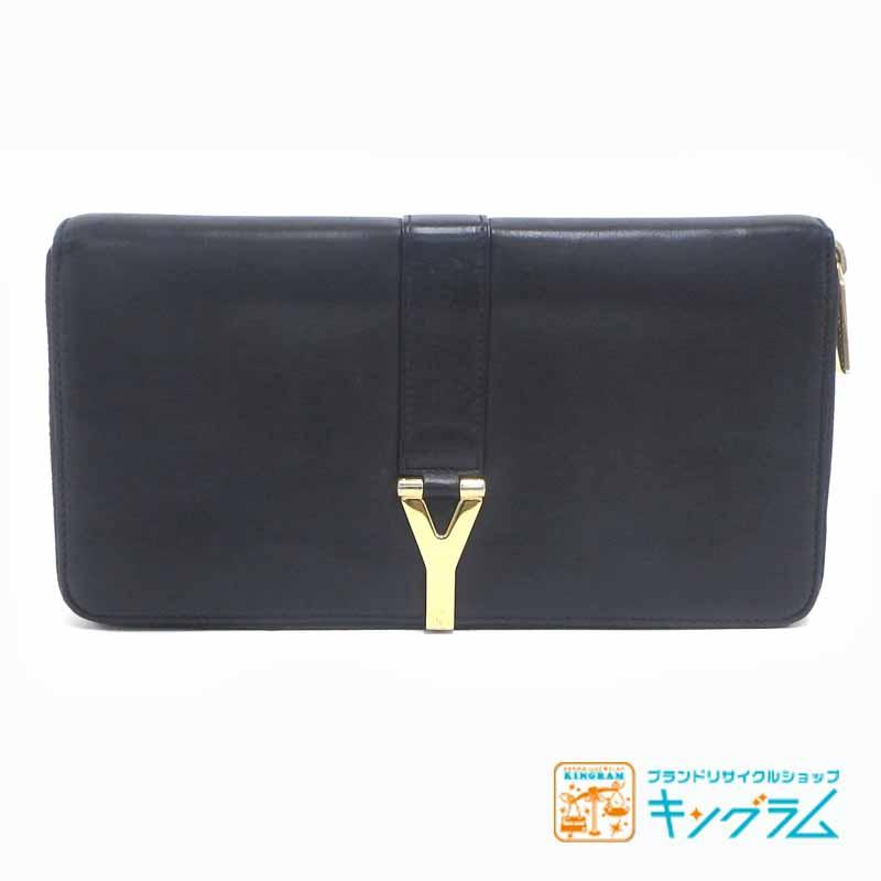 サンローラン SAINT LAURENT レザー ラウンド ファスナー 財布 ブラック 黒 fc 【中古】