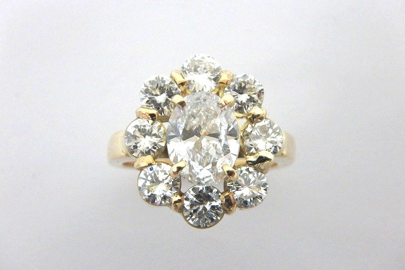K18 ダイヤモンド デザイン リング Fカラー SI-2 1.303ct / 1.55ct 11号 鑑定書付き ゴールド #11 指輪 gi [中古]