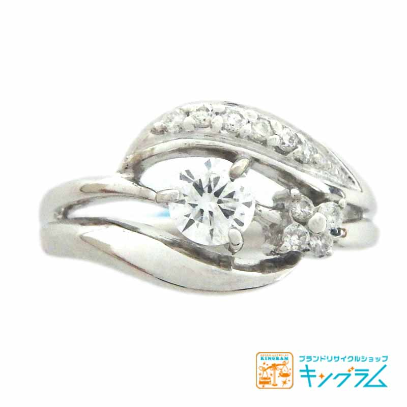 K18WG ダイヤモンド デザインリング 0.25/0.10ct F/I1/G 10.5号 #10.5 鑑定書付 ホワイトゴールド 750 指輪 ジュエリー アクセサリー hi [中古]