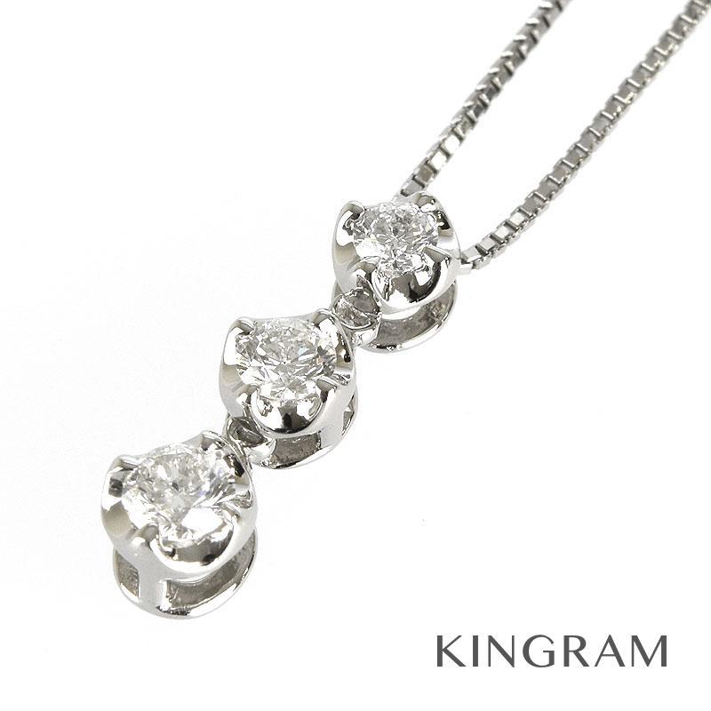 ノーブランド Generic items ネックレス Pt850 Pt ダイヤモンド 3連 3Pダイヤ クリーニング済み ku【中古】