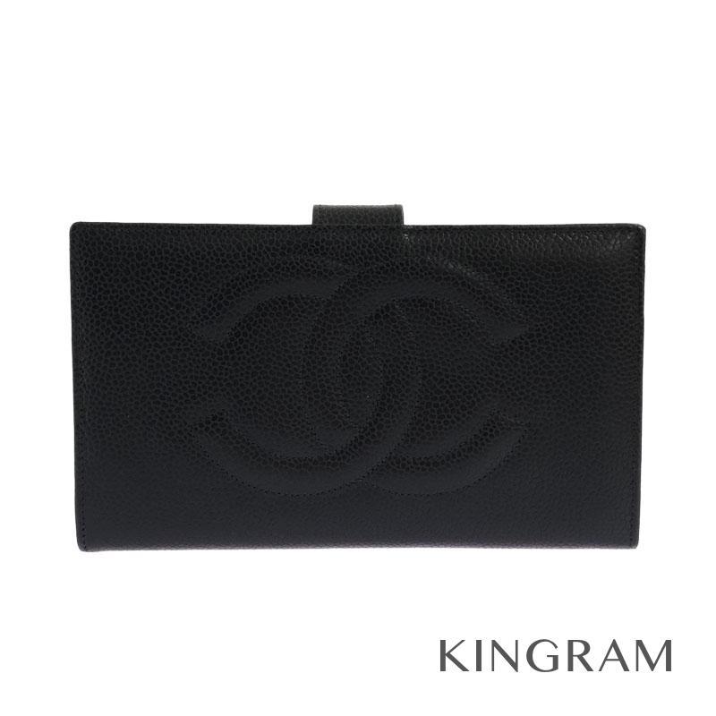 シャネル CHANEL ココマーク がま口 二つ折り長財布 A01429 ブラック キャビアスキン レディース財布 rhr【中古】