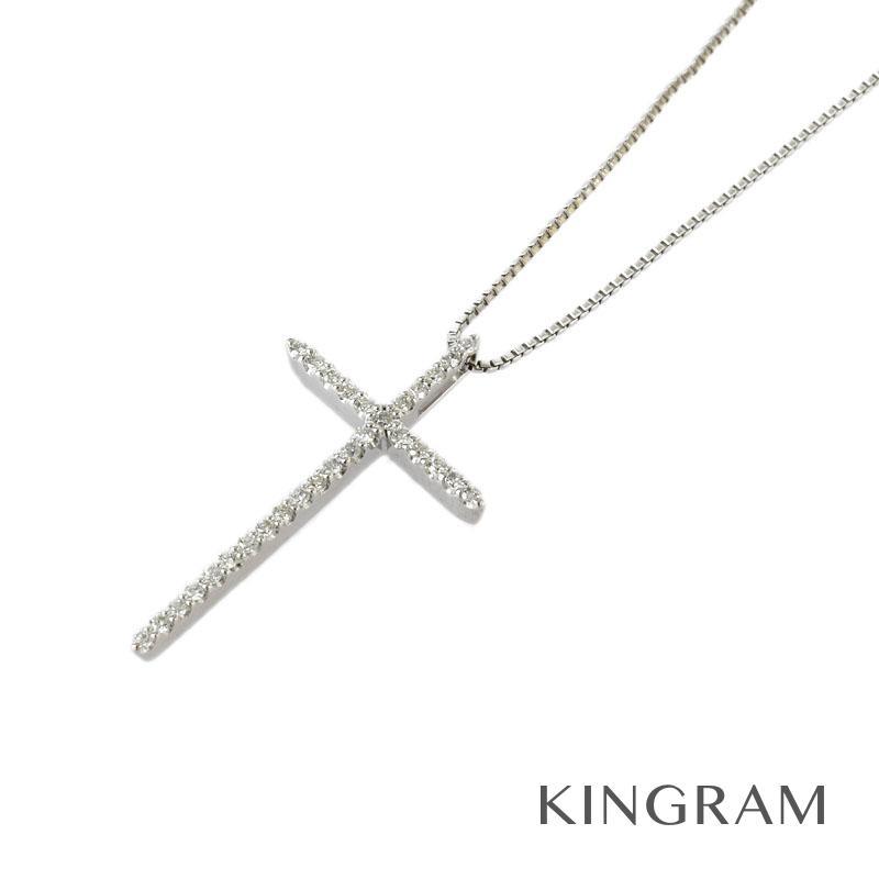 ノーブランド Generic items ネックレス K18WG 750 ダイヤモンド クロス ネックレス ec【中古】