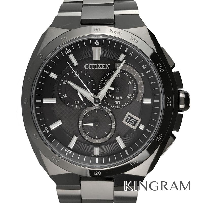 シチズン CITIZEN エコドライブ AT3014-54E アテッサ 電波時計 クロノグラフ メンズ 腕時計 ec【中古】