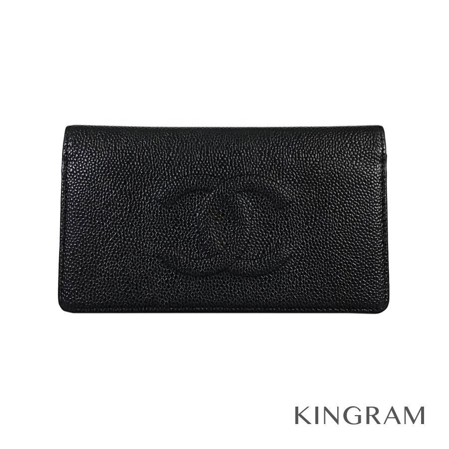 シャネル CHANEL 二つ折り 長財布 A48651 ブラック キャビアスキン レディース財布 rmt【中古】
