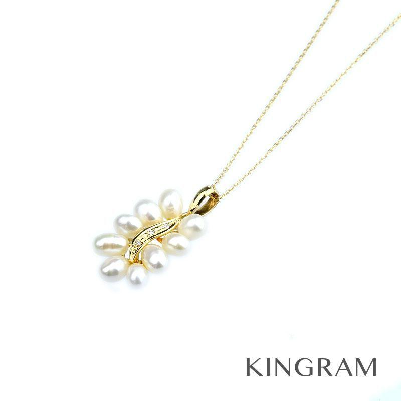 ノーブランド no brand ネックレス K18YG パール ダイヤモンド クリーニング済 rsn【中古】