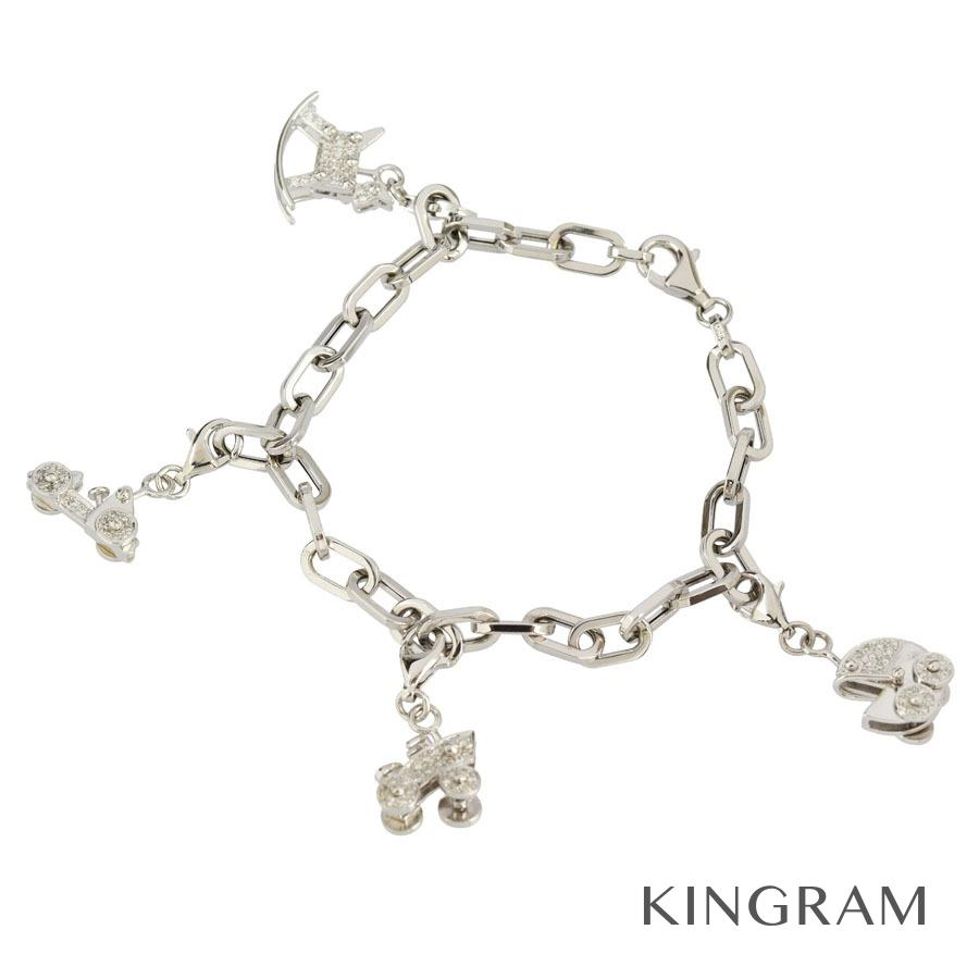 ノーブランド Generic items ブレスレット K18WG 750 ダイヤモンド 0.30ct チャーム付 クリーニング済 ko【中古】
