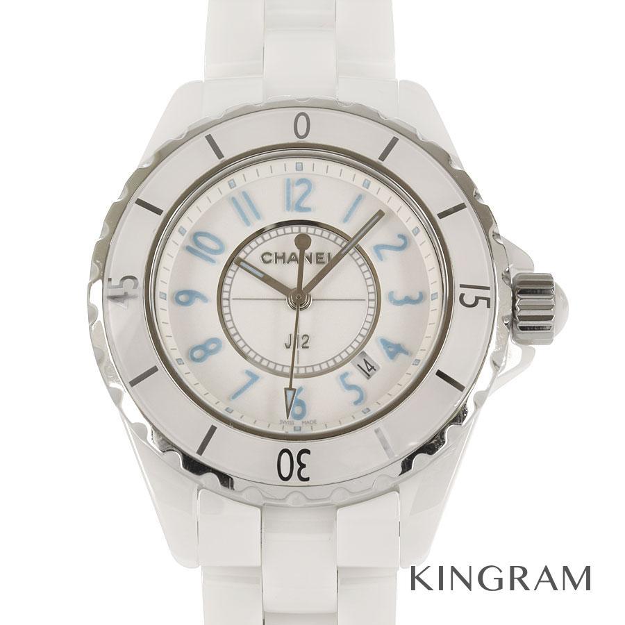 シャネル CHANEL J12 H3826 ブルーライト 世界2000本限定 機械点検済み クォーツ レディース 腕時計 ec【中古】