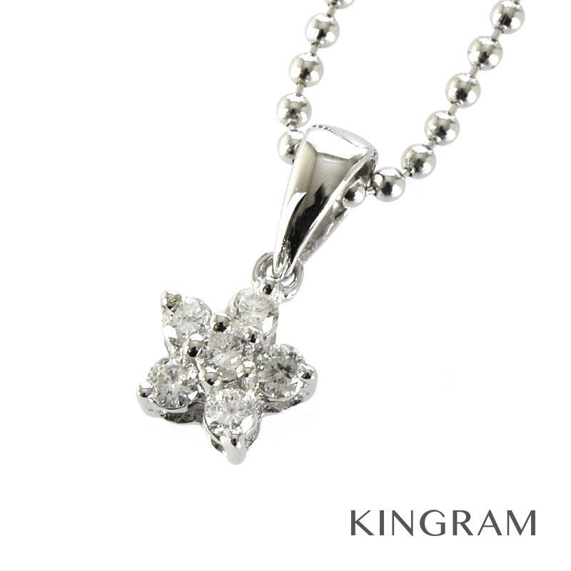 フォリフォリ Folli Follie ネックレス K18WG 750 ダイヤモンド D0.13 フラワー クリーニング済 iz【中古】