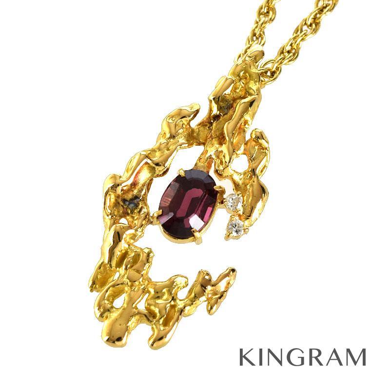 ノーブランド Generic items ネックレス K18YG 750 ガーネット ダイヤモンド クリーニング済 ti【中古】