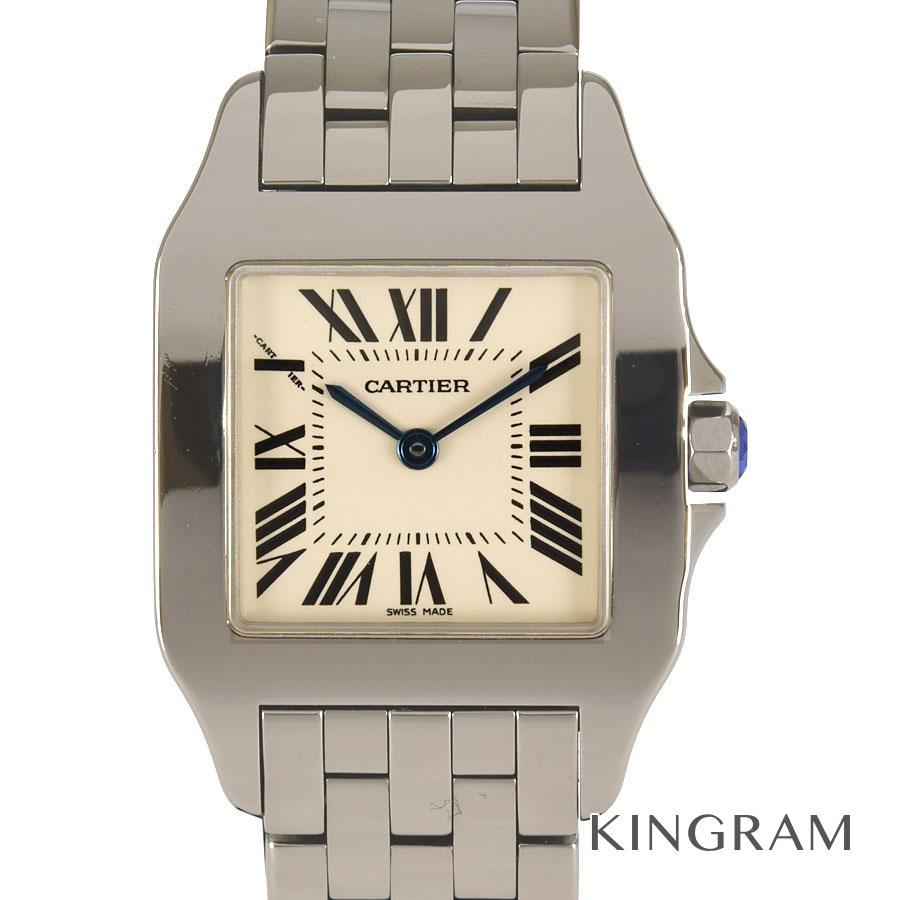 カルティエ CARTIER サントスドゥモワゼルLM W25065Z5 2701 OH済 クォーツ メンズ 腕時計 te【中古】