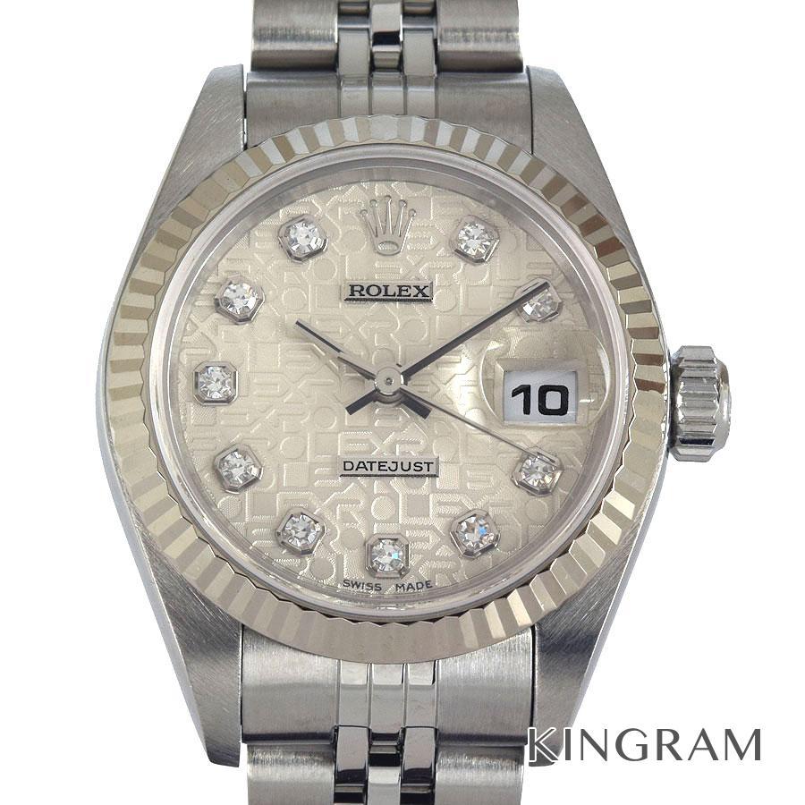 ロレックス ROLEX デイトジャスト 10P 79174G ダイヤ シルバー彫りコンピューター 自動巻 レディース 腕時計 as【中古】