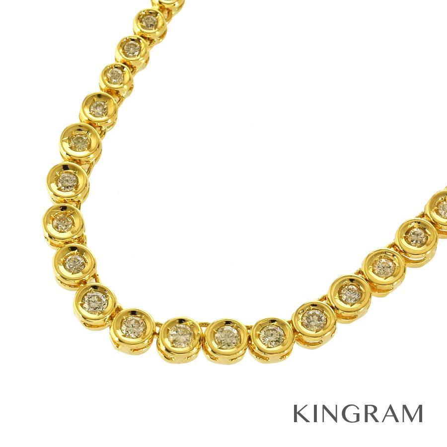 ノーブランド Generic items ネックレス K18YG 750 ダイヤモンド 2.0ct テニスネックレス クリーニング済 gi【中古】
