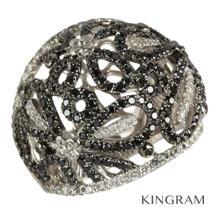 ノーブランド no brand リング K18WG 750 ブラックダイヤモンド ダイヤモンド 12号(52)クリーニング済 gi【中古】