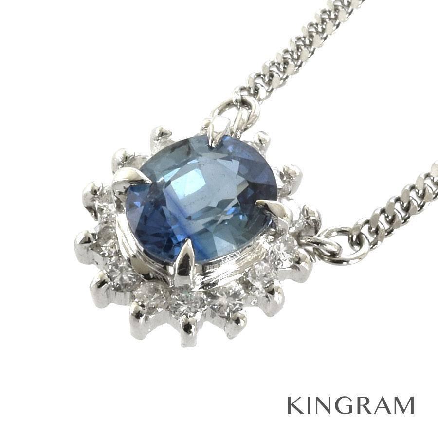 ノーブランド no brand ネックレス Pt850 サファイア ダイヤモンド クリーニング済 hs【中古】