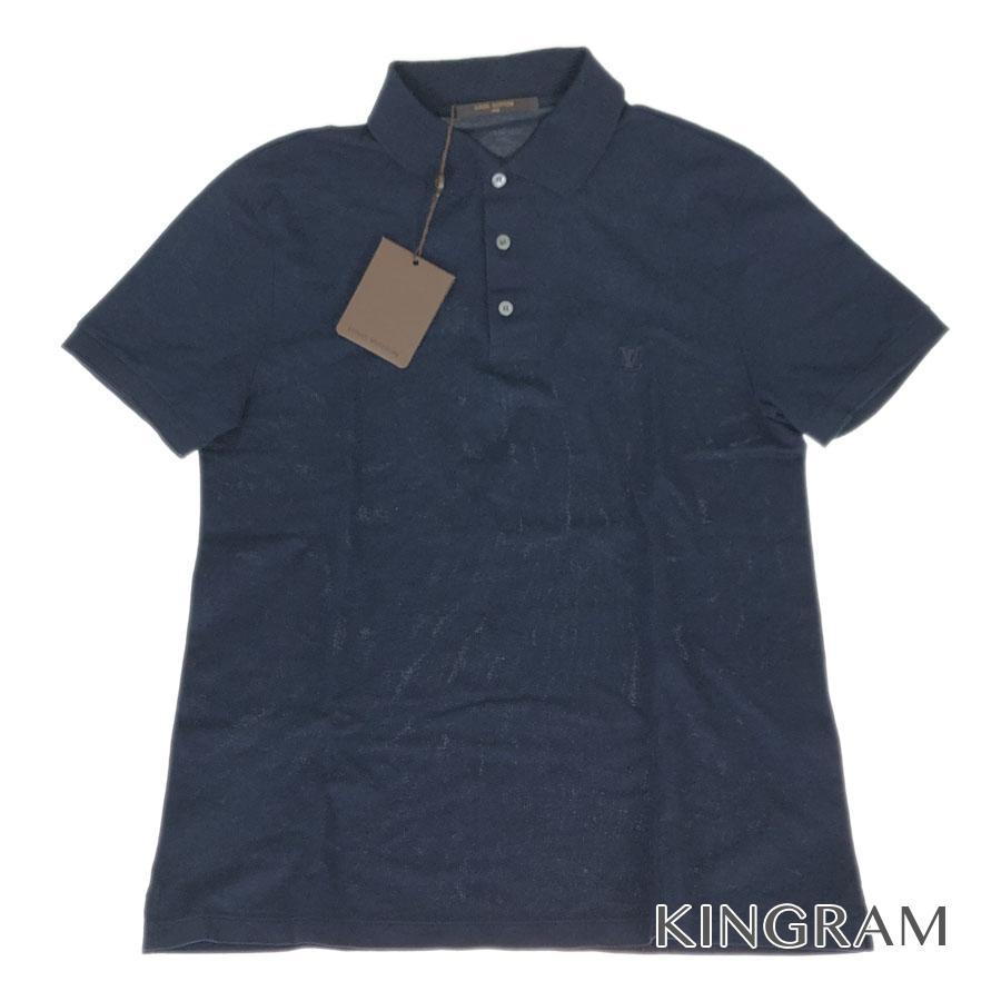 ルイ・ヴィトン LOUIS VUITTON ポロシャツ LV ロゴ ネイビー コットン100% メンズ シャツ fah【中古】