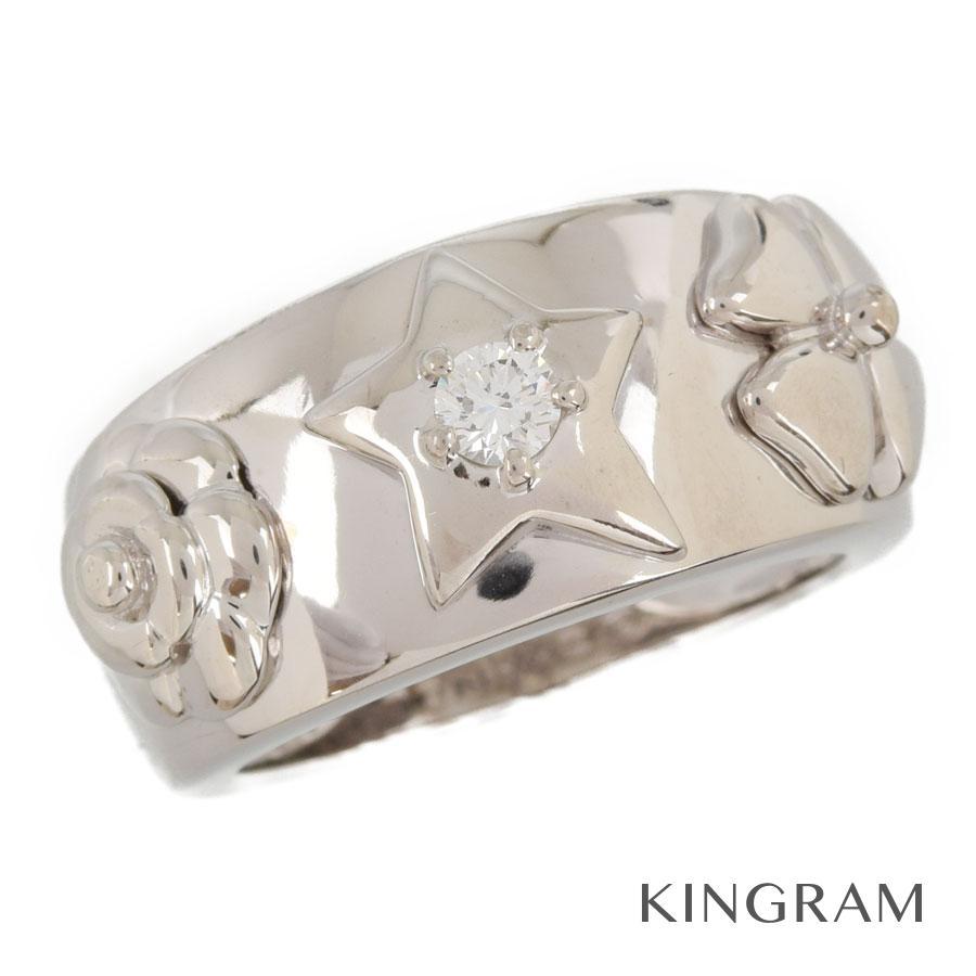シャネル CHANEL リング K18WG 750 ダイヤモンド 1Pダイヤ スリーシンボル 10号(50)クリーニング済 se【中古】
