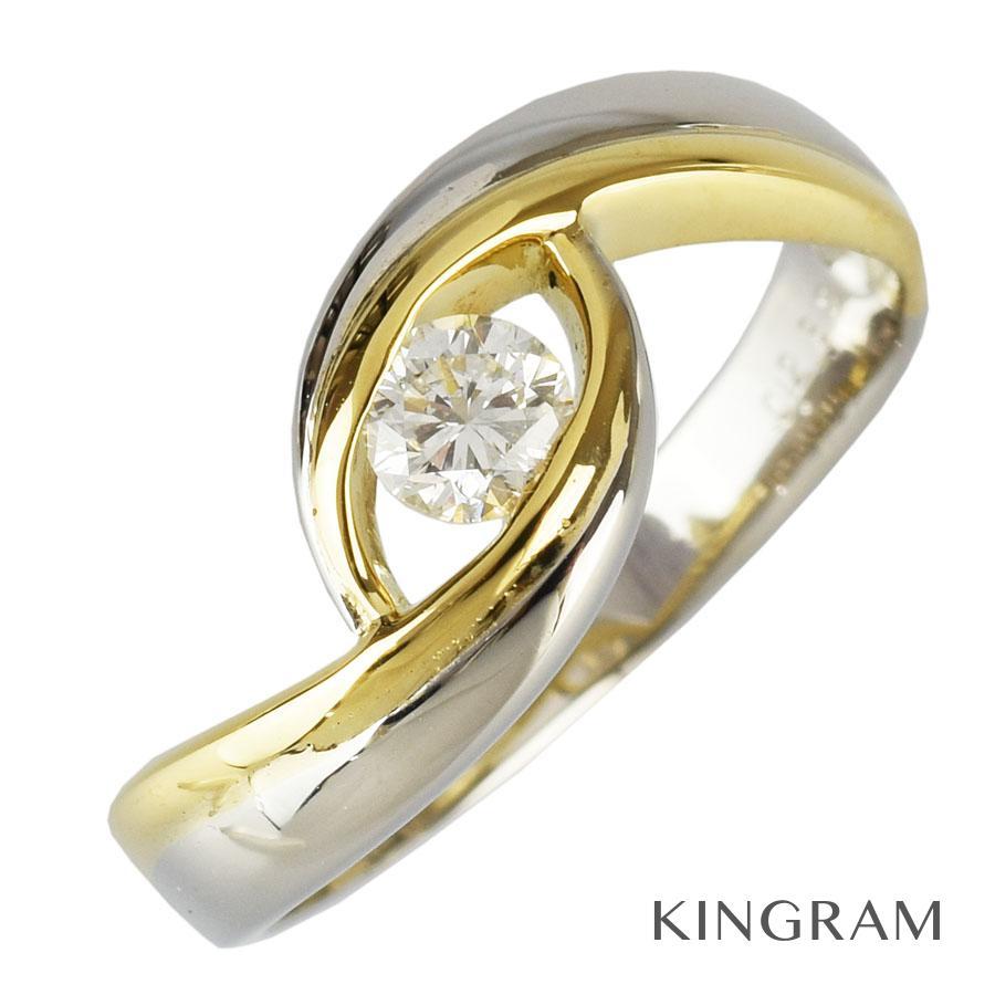 ノーブランド Generic items リング K18YG 750 Pt900 ダイヤモンド 0.238ct 12号(52)クリーニング済 hs【中古】