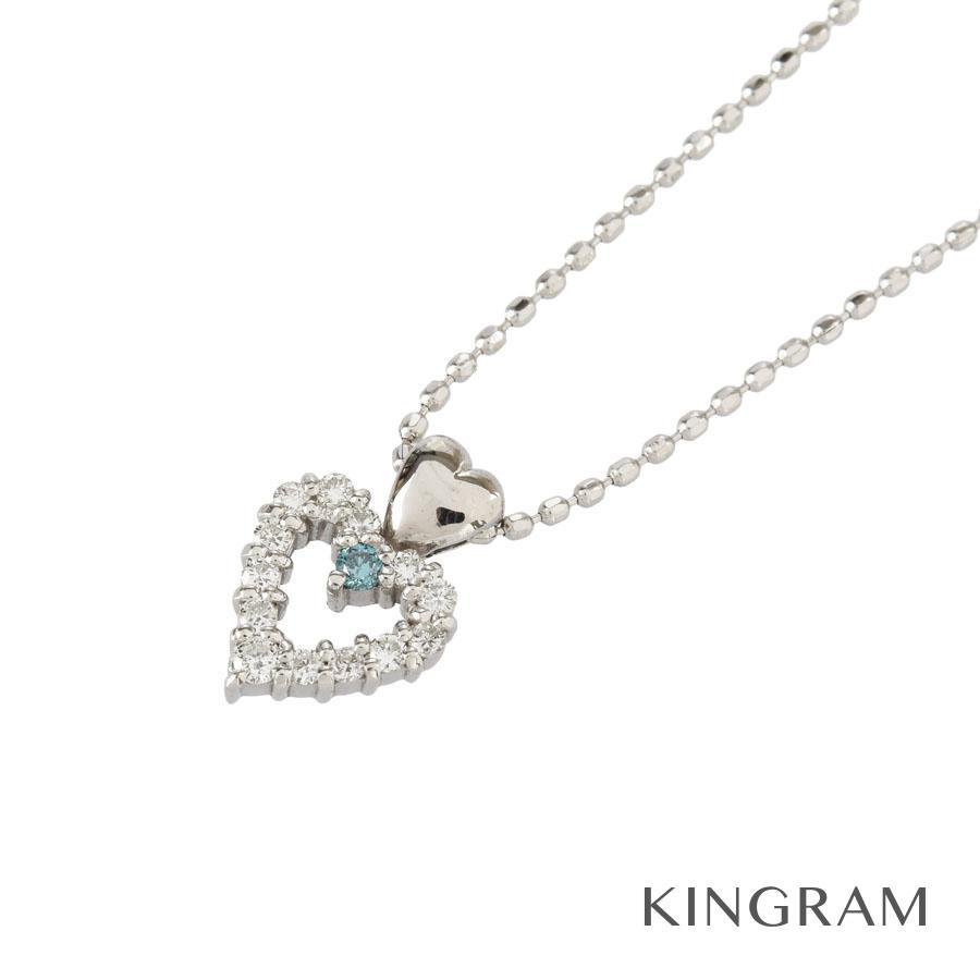 ノーブランド no brand ネックレス K18WG 750 ダイヤモンド 0.11ct ハートモチーフ クリーニング済 te【中古】