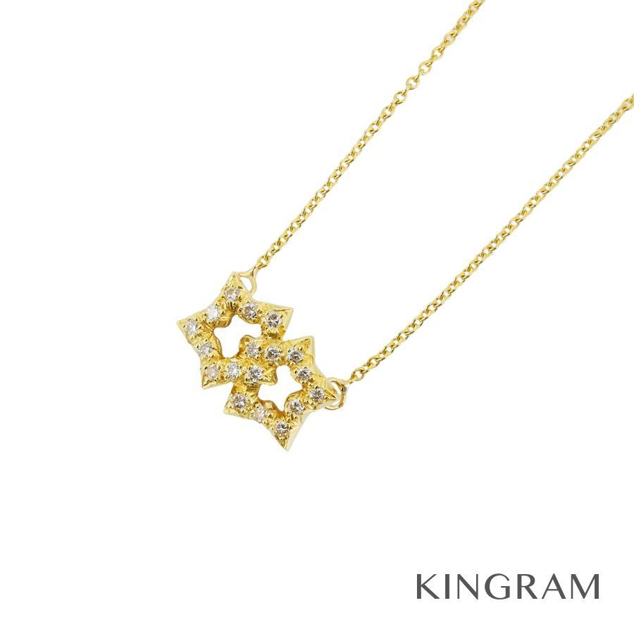 ティファニー TIFFANY&Co. ネックレス K18YG 750 ダイヤモンド スターモチーフ クリーニング済 ko【中古】