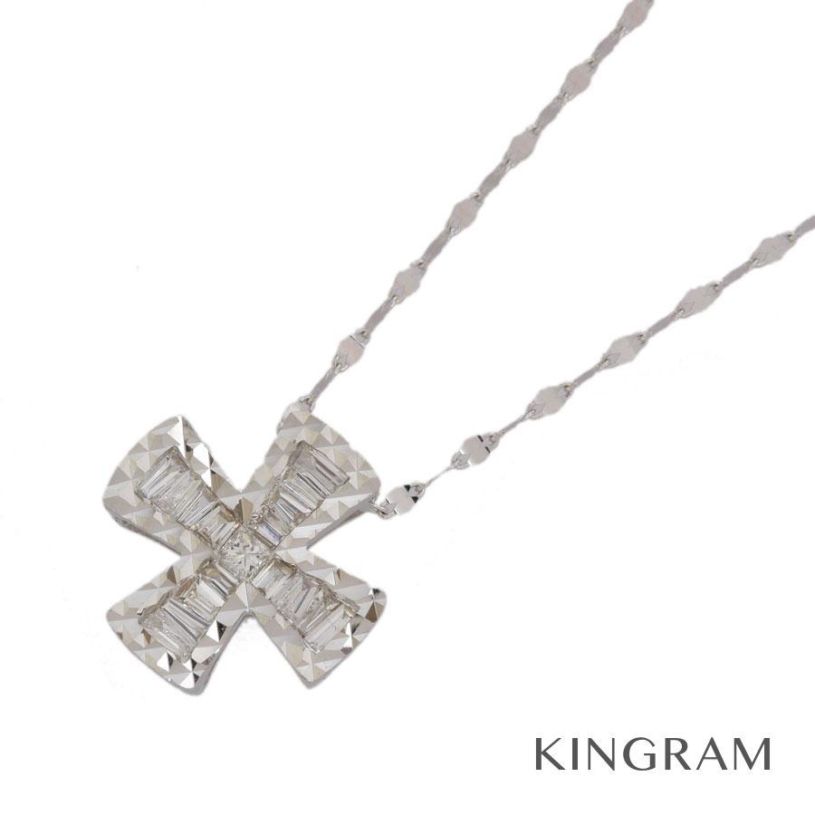 ノーブランド no brand ネックレス K18WG 750 ダイヤモンド 0.20ct クロス クリーニング済 ny【中古】