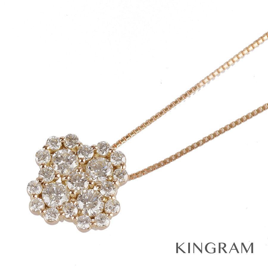 ノーブランド no brand ネックレス K18PG 750 ダイヤモンド 1.00ct クリーニング済 ros【中古】