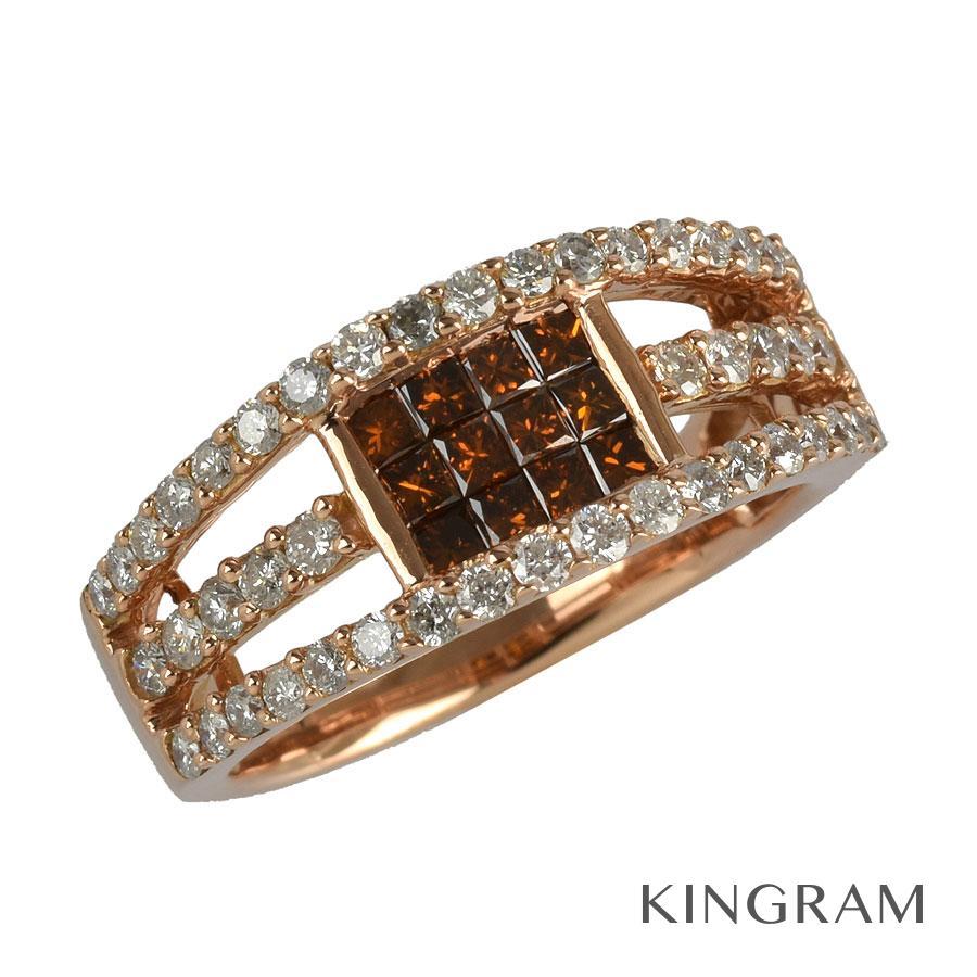 ノーブランド Generic items リング K18PG 750 ブラウンダイヤモンド ダイヤモンド 11号(51)クリーニング済 te【中古】