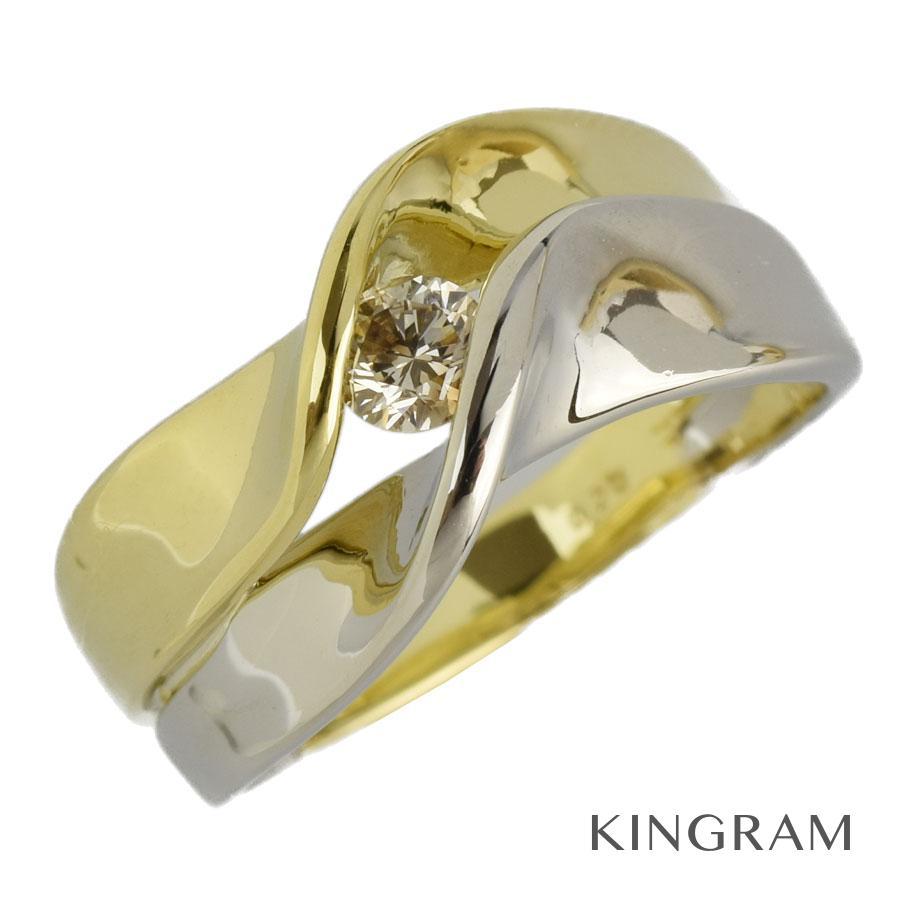 ノーブランド no brand リング K18YG 750 Pt900 ダイヤモンド 0.20ct 12号(52)クリーニング済 te【中古】