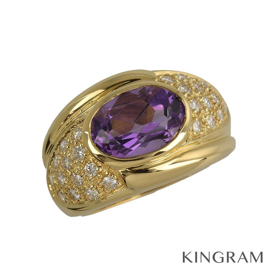ノーブランド Generic items リング K18YG アメジスト 1.6ct ダイヤモンド 0.41ct 11.5号(51) クリーニング済 ju【中古】