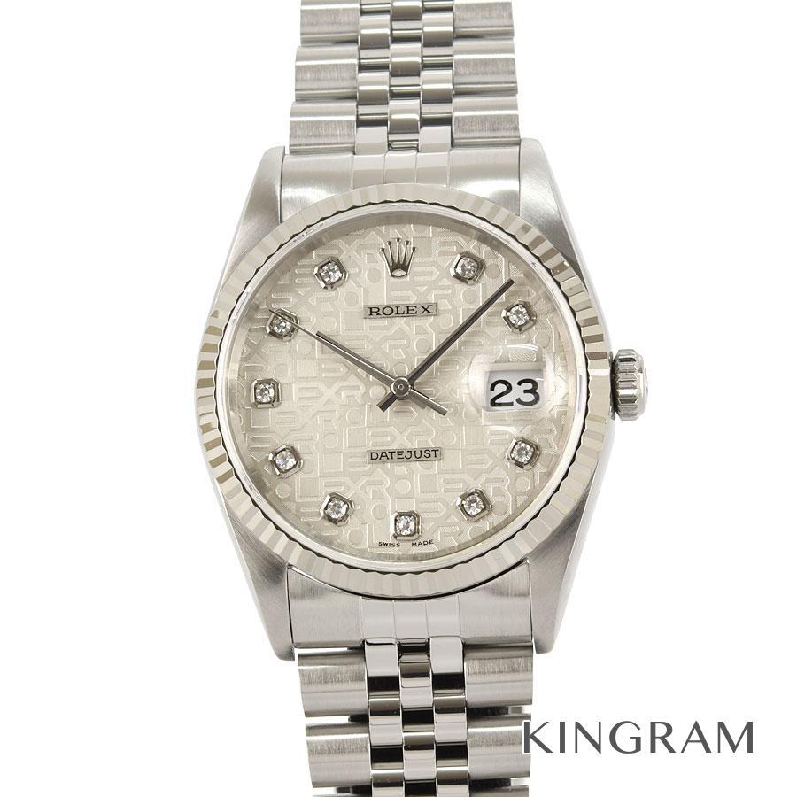 ロレックス ROLEX デイトジャスト ダイヤ付 16234G W番 10Pダイヤ 外装仕上げ済 OH済 自動巻 メンズ 腕時計 rna【中古】