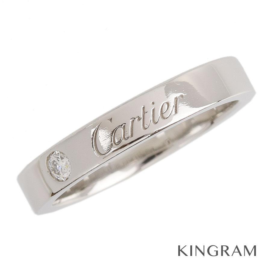 カルティエ CARTIER エングレーブド リング Pt950 ダイヤモンド 7号(47)クリーニング済 kkd【中古】