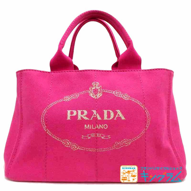 プラダ PRADA カナパ トート バッグ ピンク キャンバス 2WAY ピンク ショルダー ストラップ 付き ju 【中古】